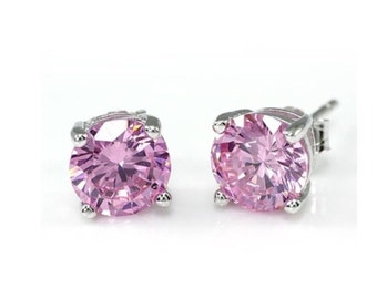 1ct pink,Jewellery,Sterling Silver, Pink Cubic Zirconia Earrings, Solitaire stud earrings, CZ earrings, silver earrings, Pink Stud Earrings