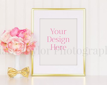 Gold Frame w/ Pink Peonies, White Vase & Gold Bow / Wainscoting / Styled Stock Photography / Art Design Background