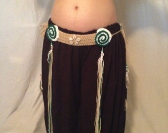 Tan belly dance belt with cowrie shells