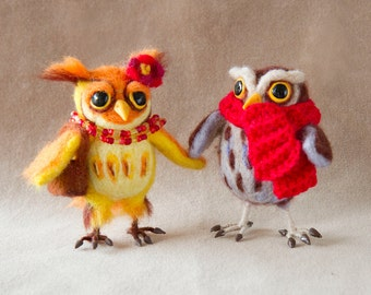 Needle Felted Cute Funny Little Owl. Owl Soft Sculpture. Needle Felted Animal. Felt Owl.