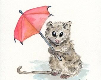 Watercolor Possum Digital print of original Watercolor-Choose from original Watercolor