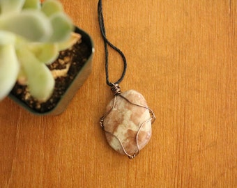 adjustable wrapped rock necklace