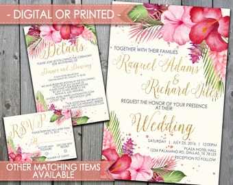 Wedding Invitation Set, Wedding Invite Set, Beach Wedding Set, DIY Kit, Bundle, Aloha, Summer, Flower, Hawaiian, Hibiscus, Tropical #289
