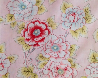 Clearance  Windham Fabrics, Morning Glory Collection #25904-28, Large floral pattern with pink background, Cotton quilt fabric By the yard