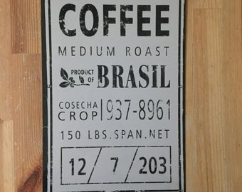 Vintage classic coffee wall art aluminum sign. Great kitchen accessory