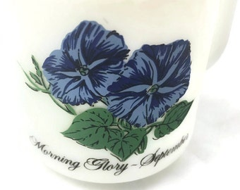 Vintage Glasbake Milk Glass Mug - Morning Glory September 77