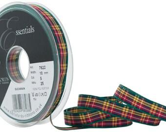 Berisfords 10 mm Polyester Tartan Ribbon, Buchanan