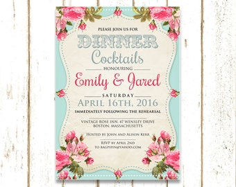 Rehearsal dinner invitation, Shabby Chic Rehearsal dinner invites, rehearsal dinner invitation instant download, rehearsal dinner ideas