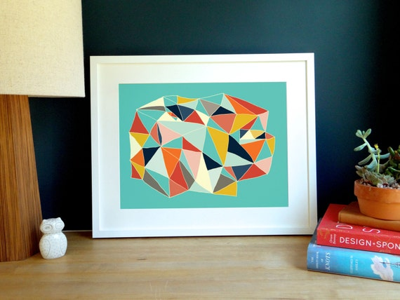 Robins Egg Blue Geometric Archival Print
