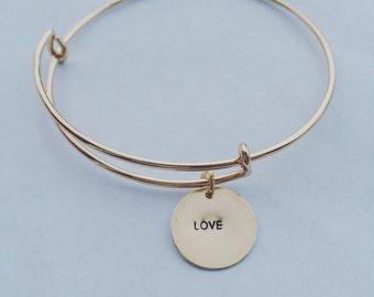 Personalized Bangle, Silver, Rose Gold, Gold, Copper, Initial Bangle, Mom Bracelet, Grandma Bracelet, Birthstone Bracelet, Charm Bracelet