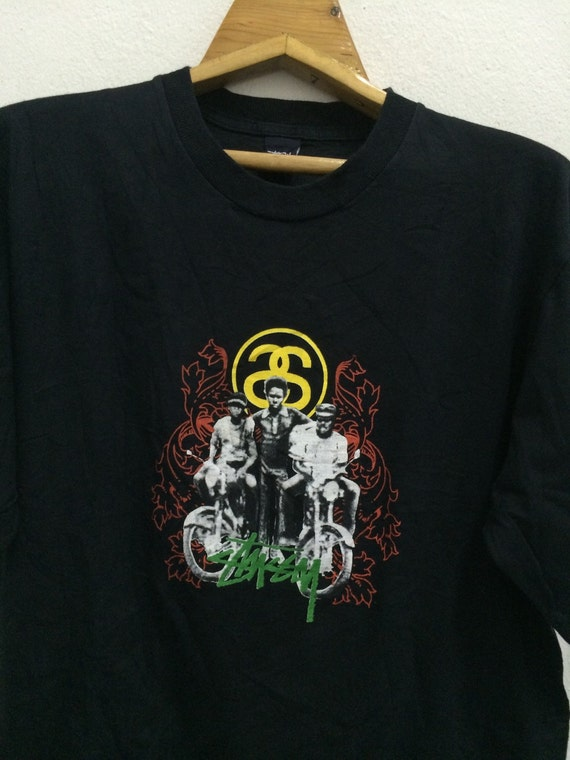Vintage stussy rasta motorcycle t shirt size xl 90s by for Bape t shirt sizing