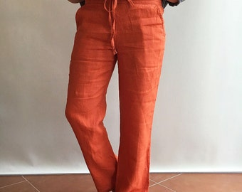 Linen trousers, Womens pants, Summer trousers, plus size clothing, linen pants plus size trousers, casual pants, beach trousers orange