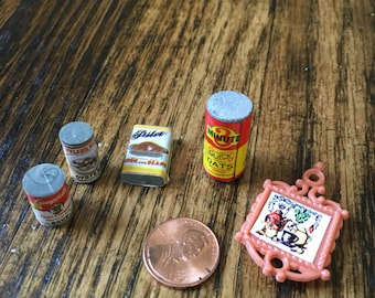 Vintage Dollhouse Cans and Food
