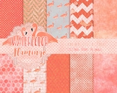 WATERCOLOR FLAMINGO Digital Paper Pack Commercial Use Flamingo Digital Background Paper Tropical Beach Peach Pink Coral Watercolour Paper