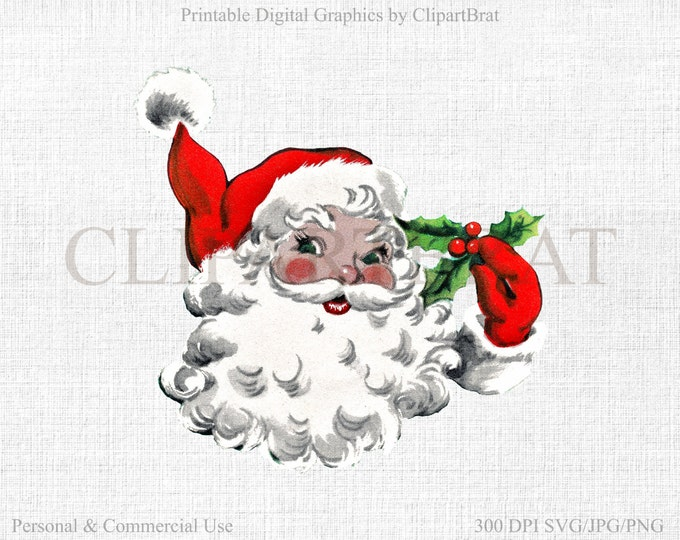 RETRO CHRISTMAS Clipart Commercial Use Clipart Santa Claus Clipart Vector Clipart Vintage Fabric Transfer Clipart Vector Graphic Jpg/Png/Svg
