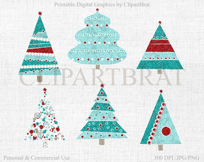CHRISTMAS TREE CLIPART Commercial Use Clipart Christmas Tree Graphics Glitter Christmas Tree Clip art Instant Download Jpg/Png Royalty Free