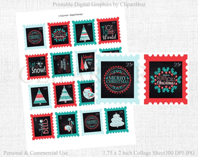 CHRISTMAS POSTAGE STAMP Clipart Commercial Use Clipart Christmas Chalkboard Word Art Trees Quotes Holiday Stamps Digital Collage Sheet