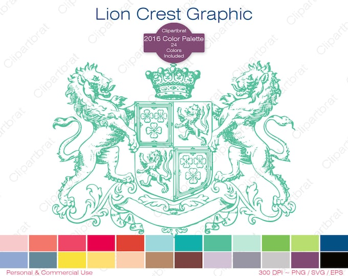 LION CREST Clipart Commercial Use Clipart Royal Coat of Arms Graphic 2016 Color Palette 24 Color Crown Family Seal Digital Stamp Png Eps Svg