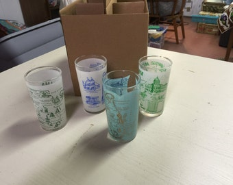 20% off Set of 4 vintage state drinking glasses in greens and blues