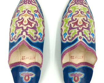 Blue and Lavender Leather Babouche Shoes