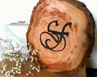 Table markers placeholder Decoration on raw wood with pyrograph custom Monogram. Log natural cherry.