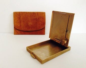 Vintage Brass Address Book with Suede Pouch