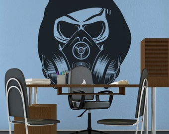 Skull Wearing Headphones Amp Gas Mask Vinyl Wall Decal