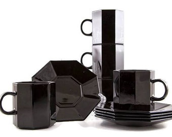 Vintage Black ARCOROC made in France Octagon saucers and cups, FRENCH Black Tea Set, Octagonal Dishes, OCTIME, Modern Black and White Decor