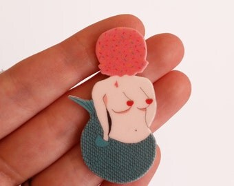 """Brooch // Pin // Sloth // shrink plastic // Illustrated """"Fabulous"""" Sloth in a Sweater // quirky // colourful // statement"""