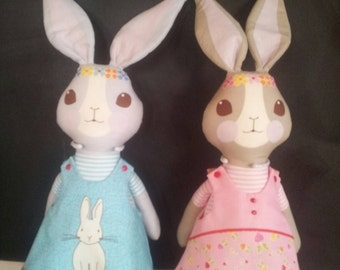 Radish Bunny Panel - Bunny Trail. Bunny Teddy/Doll