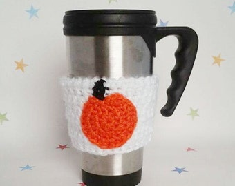 Pumpkin Cup Cosy, Crochet Tea Cosy, Coffee Sleeve, Halloween party, Office Gift, Secret Santa, gift for wiccan, Thanksgiving party, xmas gag