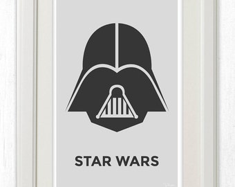 Darth Vader Star Wars Minimalist Poster 11x17 Instant PDF Download