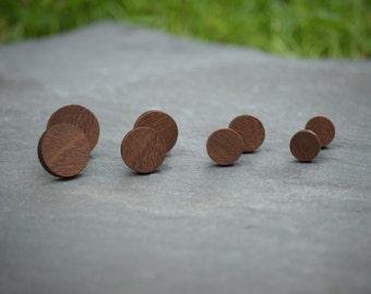 Multi Size Wooden Circle Stud Earrings - Four Pairs | Laser Cut Geometric Jewellery