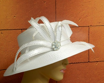 White Wedding Hat, Church Hat, Formal Hat, Dressy Hat,