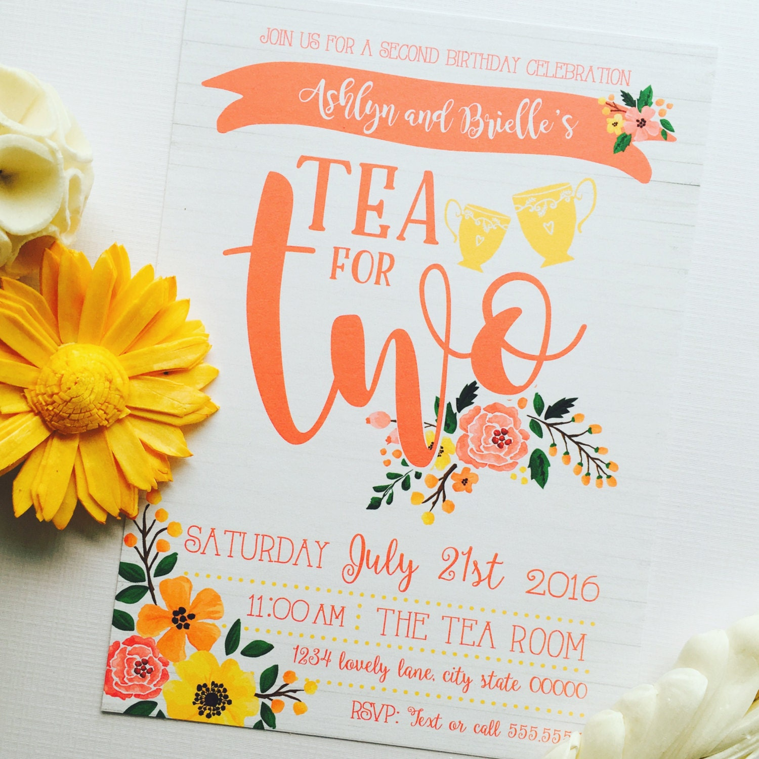 Tea For Two Second Birthday Invitation Twin Second Birthday