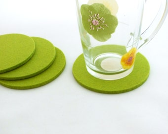 Lime Green Coasters, Cloth Coasters, Fabric Coasters, Mat, Set Of 4 Round Coasters Made Of Merino Wooll Felt, Eco-Friendly Coasters