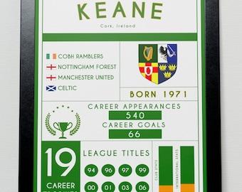 Roy Keane Stats Poster - Celtic - Manchester United - Ireland