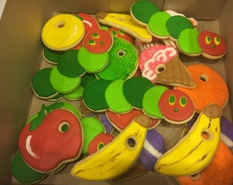 Hungry Hungry Caterpillar theme Decorated Cookies
