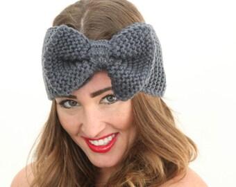 Crochet bow headband, grey headband, ear warmer.