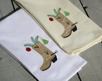 Cowboy Christmas Tea Towel