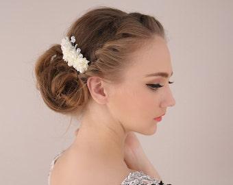 Wedding Flower Hair Piece , Floral Headpiece, Silk Flower Headpiece, Bridal headpiece, Wedding headpiece, Wedding hair pins
