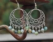 Indian Agate Earrings ~  Chandelier Earrings ~ Natural Stones ~ Green Stone Jewellery ~ Birthday Gift ~ Anniversary Gift  ~ Healing Stones