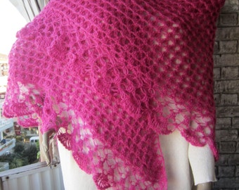 SALE/ Womens Gifts, Pink crochet shawl, women shawl, women wrap, winter shawl, Winter Accessories, shawl