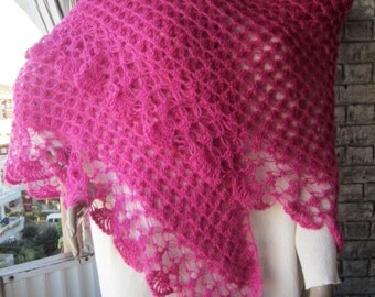 Womens Gifts, Pink crochet shawl, women shawl, women wrap, winter shawl, Winter Accessories, shawl