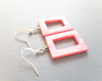 Hot Pink Shell Rectangles . Earrings