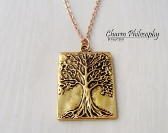 Gold Tree Necklace - Golden Rectangular Tree Charm - Antique Gold Toned Jewelry