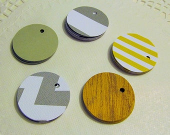 50 Round Designer Pattern Gift Tags - Assorted Patterns of Textured Cardstock - Favor Tags - Bridal tags - Price tags - Merchandise Tags