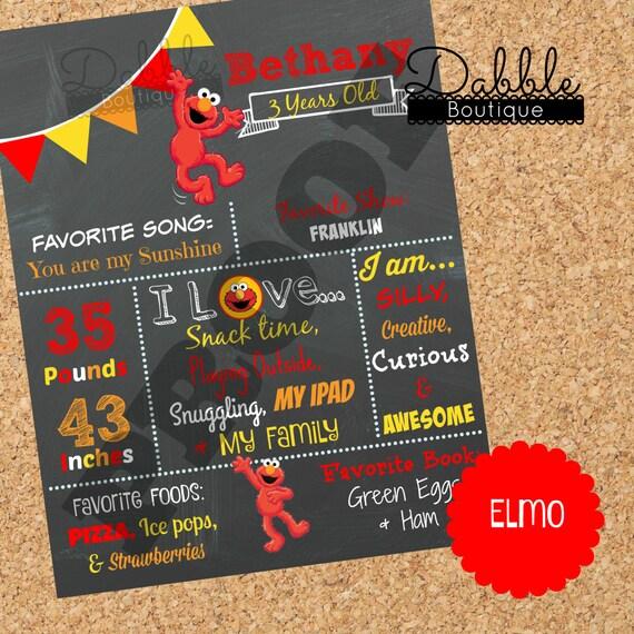 Elmo Birthday Chalkboard / 1st Birthday By TinasDabbleBoutique