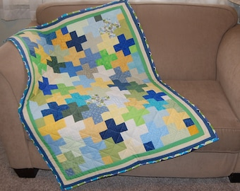 Baby Boy Blue, Green, and Yellow Puzzle Piece Quilt
