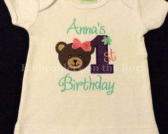 Girl 1st birthday shirt, teddy bear birthday, personalized birthday shirt, Girl first birthday, teddy bear birthday shirt, embroidered
